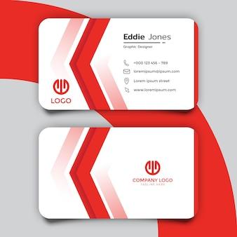 Минимальный красно-белый дизайн шаблона визитной карточки
