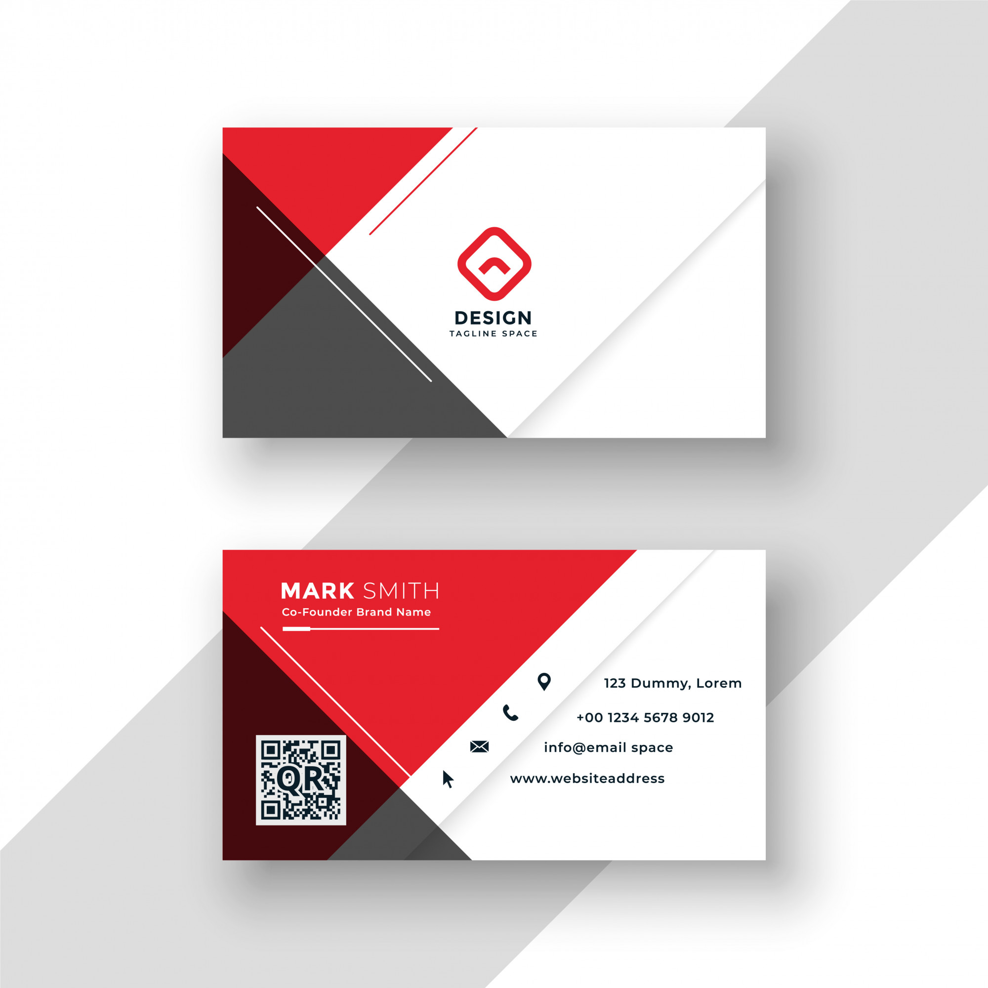 Minimal red business card template design