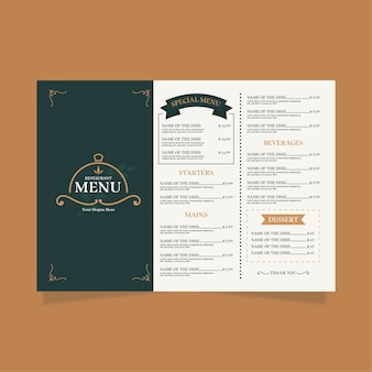 Minimal restaurant menu template in horizontal format for digital platform