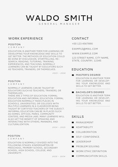 Minimal resume editable template cv builder for professionals