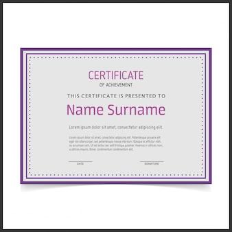 Modello di certificato vettoriale con bordi viola