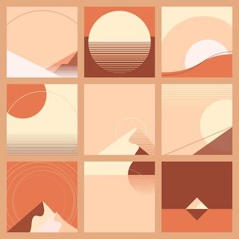 最小限のレトロフューチャーオレンジと赤の夕日の風景の背景の幾何学的なスタイルのセット