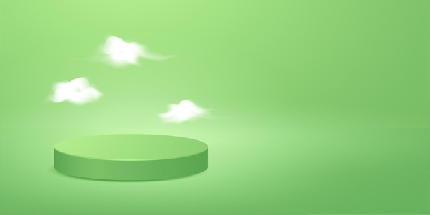 Minimal scene green podium with tiny clouds