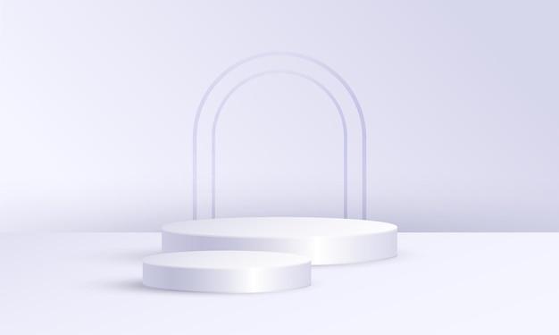 기하학적 플랫폼이 있는 최소 장면 제품 디스플레이, 회색 흰색 배경의 실린더 연단