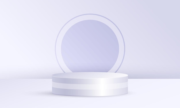 기하학적 플랫폼이 있는 최소 장면 제품 디스플레이, 회색 흰색 원 배경의 실린더 연단