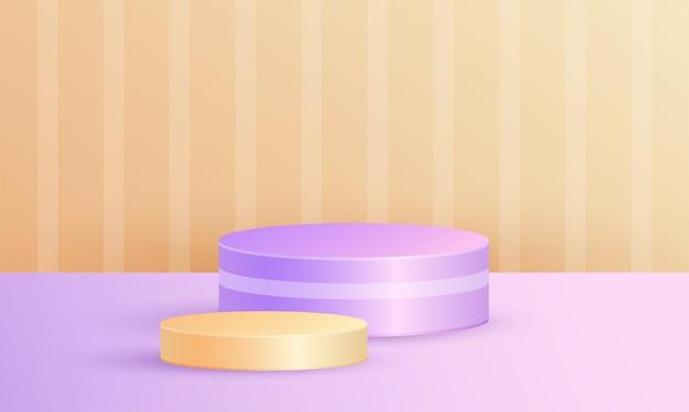 기하학적 플랫폼이 있는 최소 장면 제품 디스플레이, 주황색 보라색 배경의 실린더 연단