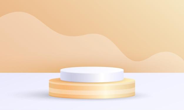 기하학적 플랫폼이 있는 최소 장면 제품 디스플레이, 주황색 흰색 배경의 실린더 연단