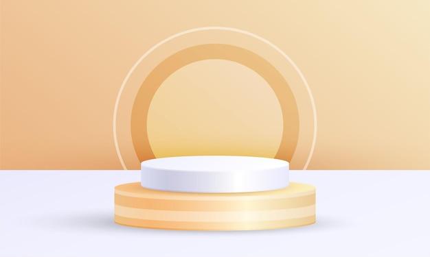 기하학적 플랫폼이 있는 최소 장면 제품 디스플레이, 주황색 흰색 원 배경의 실린더 연단
