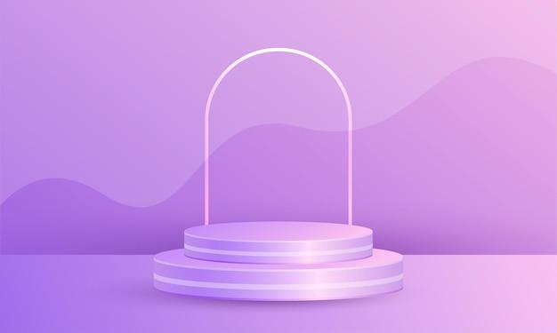 기하학적 플랫폼이 있는 최소 장면 제품 디스플레이, 보라색 배경의 실린더 연단