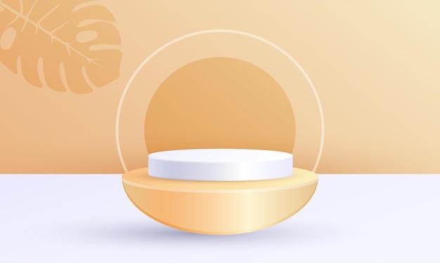 기하학적 플랫폼이 있는 최소 장면 제품 디스플레이, 주황색 흰색 잎 배경의 실린더 반원 연단