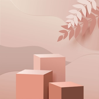 Minimal scene with geometric forms. box cube podiums in cream background with paper leave on column. scene to show cosmetic product, showcase, shopfront, display case. 3d illustration.