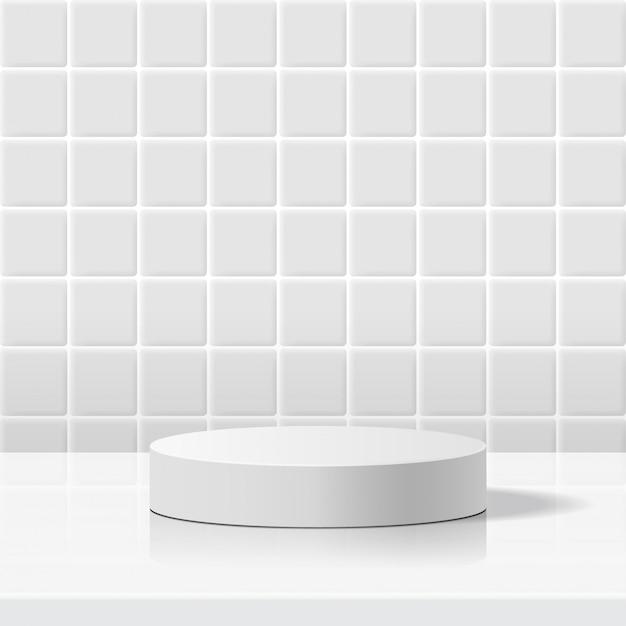 기하학적 형태의 최소 장면. 흰색 세라믹 타일 벽 배경에서 실린더 흰색 연단. 화장품, 쇼케이스, 상점, 진열장을 보여주는 장면. 3d 일러스트 레이 션.