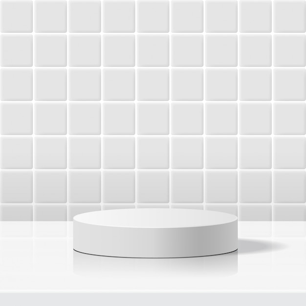 Minimal scene with geometric forms. cylinder white podium in white ceramic tile wall background. scene to show cosmetic product, showcase, shopfront, display case. 3d illustration.