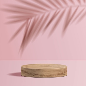 Minimal scene with geometric forms. cylinder wood podium in pink background with shadow leave. scene to show cosmetic product, showcase, shopfront, display case. 3d illustration.