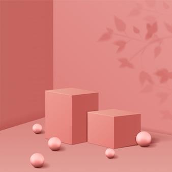 기하학적 형태의 최소 장면. 그림자 잎와 공 분홍색 배경에서 큐브 연단. 화장품, 쇼케이스, 상점, 진열장을 보여주는 장면. 3d 일러스트 레이 션.