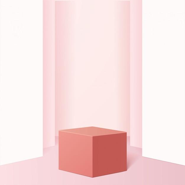 기하학적 형태의 최소 장면. 부드러운 분홍색 배경에서 큐브 연단입니다. 화장품, 쇼케이스, 상점, 진열장을 보여주는 장면. .