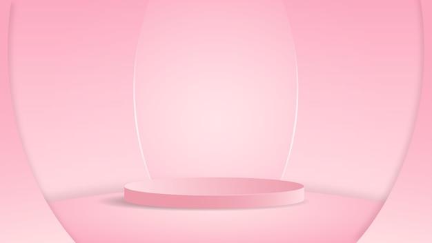 화장품 쇼케이스 샵 전면 디스플레이 케이스를 보여주는 분홍색 배경 장면의 기하학적 형태의 실린더 연단이있는 최소 장면