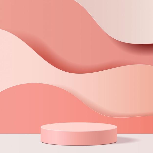 기하학적 형태의 최소 장면. 분홍색 배경에 실린더 연단입니다. 화장품, 쇼케이스, 상점, 진열장을 보여주는 장면. 3d 일러스트 레이 션.