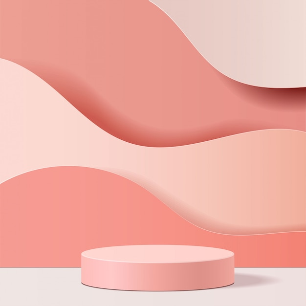 Minimal scene with geometrical forms. cylinder podium in pink background. scene to show cosmetic product, showcase, shopfront, display case. 3d   illustration.