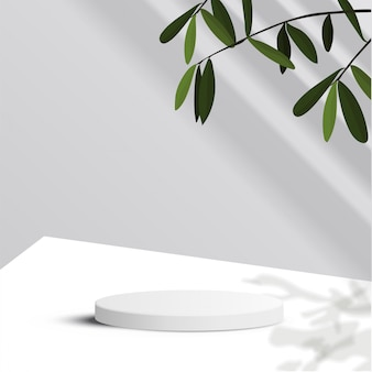 Minimal scene with geometrical forms. cylinder podium in white background with leaves and sun light. scene to show cosmetic product, showcase, shopfront, display case. 3d   illustration.