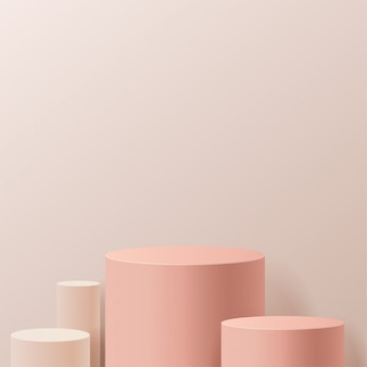 Minimal scene with geometrical forms. cylinder podiums in cream background. scene to show cosmetic product, showcase, shopfront, display case. 3d   illustration.