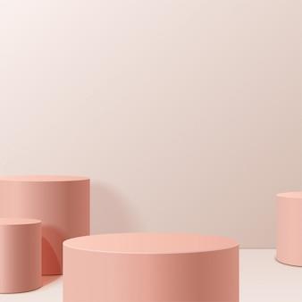 Минимальная сцена с геометрическими формами. цилиндрические подиумы в кремовом фоне. сцена для показа косметического продукта, витрина, витрина, витрина. 3d иллюстрации.