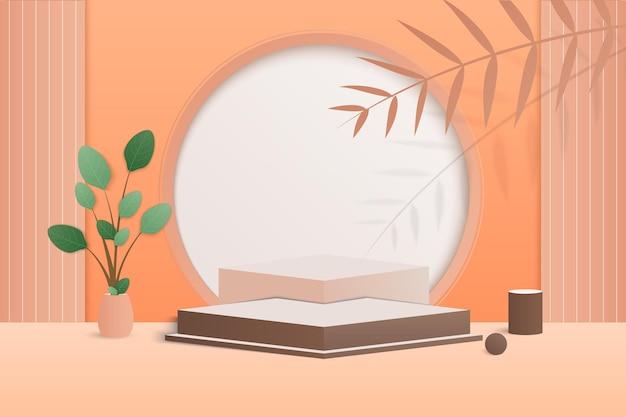 幾何学的な形の最小限のシーン。カラムに紙の葉とクリーム色の背景のシリンダー表彰台。化粧品、ショーケース、店頭、陳列ケースを展示するシーン。 3dベクトルイラスト。