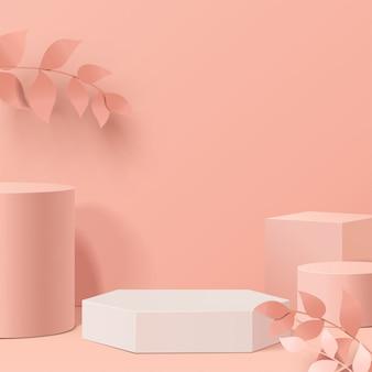Минимальная сцена с геометрическими формами. цилиндрические подиумы в листьях. сцена для показа косметического продукта, витрина, витрина, витрина. 3d иллюстрации.