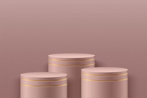 기하학적 형태의 최소한의 장면. 로즈 골드 배경에서 실린더 연단