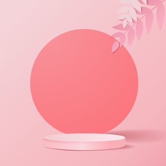 Minimal scene with geometrical forms. cylinder podiums in pink background with leaves. scene to show cosmetic product, showcase, shopfront, display case. 3d   illustration.