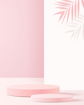 Minimal scene with geometrical forms. cylinder podiums in soft pink background with paper leave on column. scene to show cosmetic product, showcase, shopfront, display case.   .