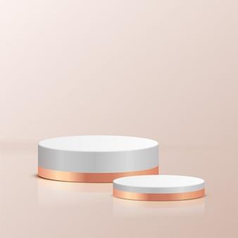 Минимальная сцена с геометрическими формами. белый и золотой цилиндр подиумы металлический материал в кремовом фоне. сцена для показа косметического продукта, витрина, витрина, витрина. 3d иллюстрации.