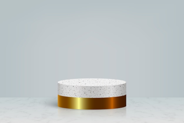Minimal scene with gold marble stone podium, cosmetic product presentation background