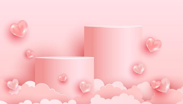 ピンクの表彰台と空気の背景を持つ最小限のシーン。トレンディなパステルピンクの愛の形の風船と紙カットの雲。バレンタインデー