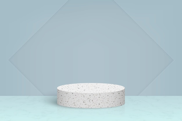 Minimal scene with terrazzo marble stone podium, cosmetic product presentation background