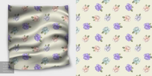 布地印刷用の最小限のシームレスな花柄