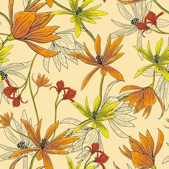 직물 인쇄를 위한 최소한의 원활한 꽃 패턴