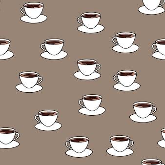 コーヒーとの最小限のシームレスパターン。ホットドリンクのカップ。