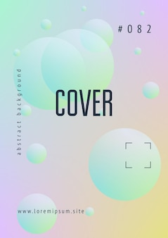 Minimal shapes cover with holographic fluid. gradient shapes on vibrant background. modern hipster template for presentation, banner, flyer, report, brochure. minimal shapes cover in neon colors.