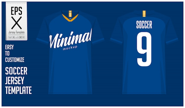 Minimal soccer jersey or football kit template design