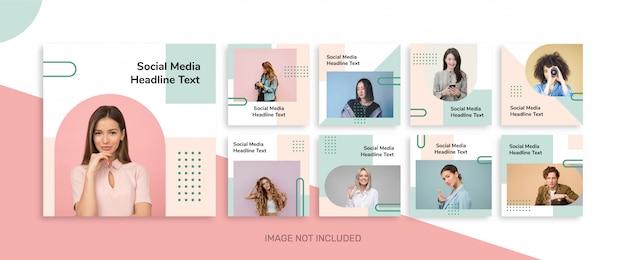 Instagramの最小限のソーシャルメディア投稿テンプレートコレクション