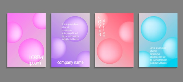 Minimal soft sphere shapes covers set with modern gradient background colors. vector templates for placards, banners, flyers, labels and reports.