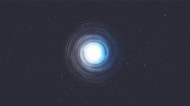 Minimal spiral black hole on galaxy background.planet and physics concept design.