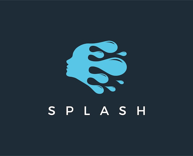 Minimal splash face logo template