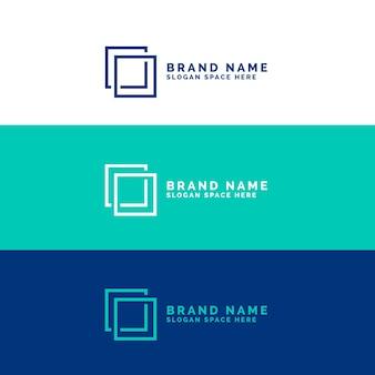 最小限の正方形のロゴのコンセプト