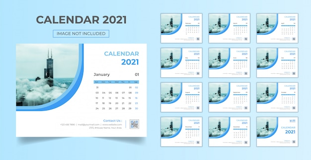 Minimal, stationary desk calendar 2021