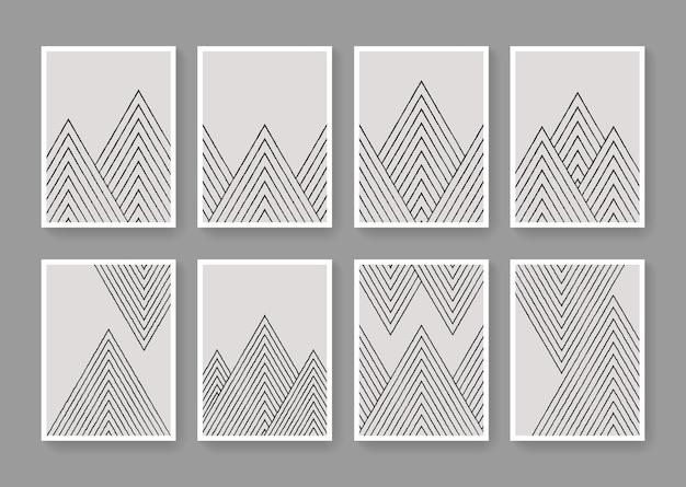 最小限の縞模様の幾何学的なポスター。ミッドセンチュリーのモダンな多角形の線形構成。抽象的なブラシの現代アートプリント。