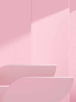Minimal studio shot geometric background for product display, monochrome light pink.