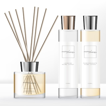 Minimal style aroma diffuser set with silver cap home spray clear bottle.