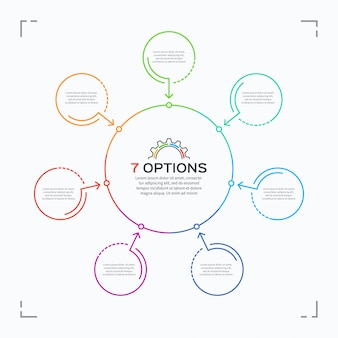 Minimal style circle infographic template with  options.